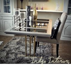 Metallic Silver Mirrored Desk / Table with Gold by IndigoInteriors