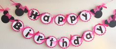 PINK White Polka Dot Minnie Mouse Happy Birthday Banner