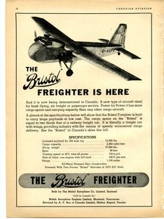 1946 Bristol Type 170 Freighter Print Ad by TheAdAttic on Etsy Retro Advertising, Vintage Advertisements, Bristol Cars, Canadian Airlines, Event Logistics, Cargo Aircraft, Air Charter, Vintage Airline, Air Space