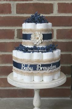 2 Tier Mini Navy and Burlap Diaper Cake, Burlap Lace, Cottage Chic Baby Shower… Cadeau Baby Shower, Baby Shower Crafts, Diaper Shower, Baby Shower Diapers, Baby Boy Shower, Diy Diaper Cake, Mini Diaper Cakes, Nappy Cakes, Mini Cakes