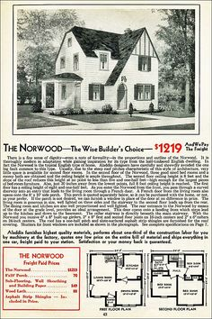 The Norwood Kit House Floor Plan made by the Aladdin Company in Bay City Michigan in 1931 Vintage