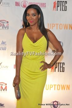 #RHOA Kenya Moore's 'Salute to Excellence' Awards Chartreuse/Green Maxi Dress