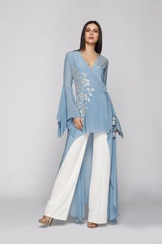 Easy Elan : Take your festive statement up by a notch with these stylish silhouettes by Namrata Joshipura . WhatsApp us now for personal shopping experience! Party Wear Indian Dresses, Designer Party Wear Dresses, Dress Indian Style, Indian Fashion Dresses, Indian Designer Outfits, Pakistani Dresses, African Fashion, Dress Neck Designs, Stylish Dress Designs