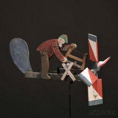 """Polychrome Painted """"Woodchuck"""" Lumberjack Whirligig"""