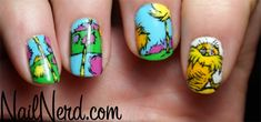 "Dr. Seuss nail art ""Lorax"" - Oh, I wish I could do this!"