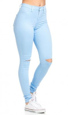 High Waisted Knee Slit Skinny Jeans in Baby Blue