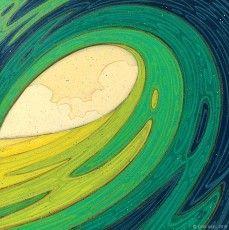 """Happy Place"" © Erik Abel 2015 128 x 18"" Acrylic, marker, colored pencil on wood. #oceanart #art #surfart #erikabel"