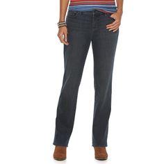 Women's Chaps Curvy Fit Straight-Leg Jeans, Size: 10 T/L, Blue