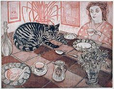 Richard Bawden British) loves cats and includes them in most of his works. Domestic and garden scenes where cats are usually seen are his She And Her Cat, Son Chat, White Cats, Linocut Prints, Beautiful Cats, I Love Cats, Character Concept, Cat Art, Female Art