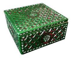 Gurman LA Tribal Green Square Jewelry Box, 5-Inch by 5-Inch - http://collectibles.goshoppins.com/animals/gurman-la-tribal-green-square-jewelry-box-5-inch-by-5-inch/