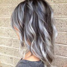 grey silver balayage