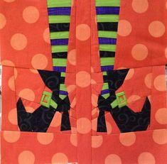 Witch's feet, free halloween quilt block pattern by trilliumdesign