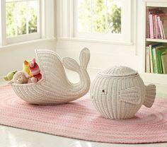 Revival Home & Garden: Pottery Barn Kids - Friend or Foe? Gift Bag Storage, Soft Toy Storage, Ikea Storage, Storage Baskets, Storage Ideas, Pottery Barn Kids, Craft Paper Storage, Paper Weaving, Newspaper Crafts