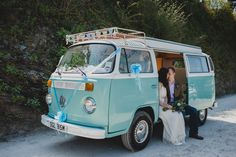 Chris and Sian's Travel Themed Cornish Cliff Top Wedding. By Toast of Leeds. We love to see a VW camper at Polhawn Fort!