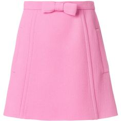 Miu Miu bow detail mini skirt (500 JOD) ❤ liked on Polyvore featuring skirts, mini skirts, short miniskirt, miu miu, pink bow skirt, pink mini skirt and bow mini skirt