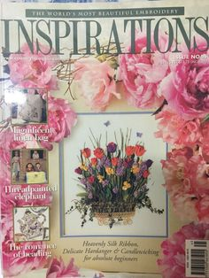 Inspirations Magazine: The World& most beautiful Embroidery Issue 45 Inspirations Magazine, Linen Bag, World's Most Beautiful, Silk Ribbon, Elephant, Delicate, Embroidery, Frame, Projects