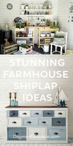 Farmhouse Shiplap ideas - sooo pretty! For every room #shiplap #shiplapwalls #DIY #diyhomedecor #homedecor #homedecorideas #farmhouse #farmhousestyle #walldecor #ideas #interiordesign