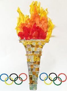 Sizzling Sunsets over Rio de Janeiro Fun Collage Activity - paper mosaic Olympic torch paper mosaic Olympic torch paper mosaic Olympic torch Welcome to our web - Olympics Kids Crafts, Olympic Crafts, Olympic Games, Art For Kids, Crafts For Kids, Greek Crafts, Paper Mosaic, Sport Craft, Winter Games