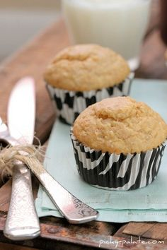 Malted Banana Bread Biscoff Muffins. Recipe complete with step-by-step photos and instructions.
