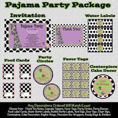 Pajama Party Birthday Invitations  Pajama by CutiesTieDyeBoutique, $39.00