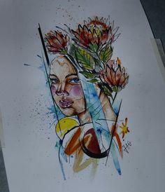Woman and flowers watercolour aquarela draw drawing art ink mulher tattoo tatuagem