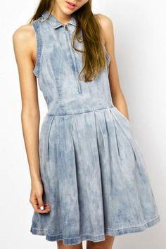 Chic Turn-Down Neck Sleeveless Pocket Design Denim Dress For Women