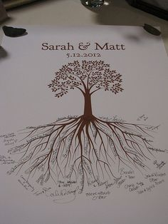 A neat guest book idea, let your friends know that they are the roots from which your relationship will grow.
