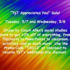 """""""TpT Appreciates You!"""" Sale - Tuesday, 5/7 and Wednesday, 5/8. 10% off everything in Coach Allen's social studies store, including interactive flipcharts, PowerPoints, classroom activities, and so much more!  Happy Teacher Appreciation Week!  :)"""