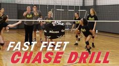 "Quickness is a must-have skill in volleyball. In the ""chase"" drill, a coach lobs the ball to a hard-to-reach place on the court. Players must chase it down and play it back over the n… Volleyball Training, Volleyball Passing Drills, Volleyball Skills, Volleyball Practice, Basketball Workouts, Coaching Volleyball, Basketball Hoop, Girls Basketball, Girls Softball"