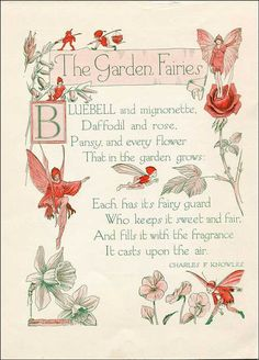 Vintage 1930's Story Book Illustration, Print, The Garden Fairies, Fairies and Verse:
