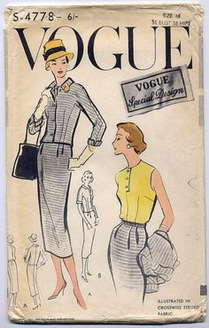 """B36"""" ORIGINAL 1950's 50s Chic Suit Vogue Special Design Sewing Pattern 4778"""