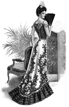 Lovely Victorian Evening Gown ~ Free Illustration (black and white version)
