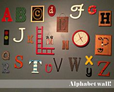 Love the alphabet wall, especially done like this. Alphabet A, Spearmint Baby, Toy Rooms, Rainbow Loom, Kid Spaces, Love Letters, Home Crafts, Playroom, Holiday Decor