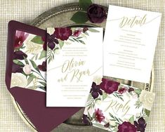 burgundy and gold wedding invitations, burgundy floral wedding invitations, marsala wedding invitation, winter wedding, printed invitations by Devon Design Co.