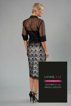 Black + Ivory - pure silk + lace with sleeves is classic and elegant for the mother of the bride/ groom for a cocktail, beach, boho, country, rustic, formal wedding and rehearsal dinner in Spring/ Summer and Fall/ Winter | Mother of the Bride / Groom Dresses  #livingsilk #celebrateinsilk #puresilk #motherofthebridedresses #motherofthegroomdresses#weddingideas
