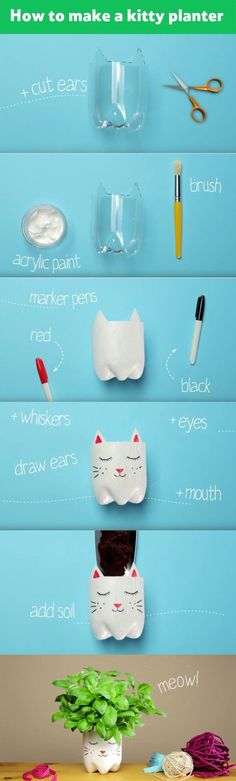 DIY Beat summer holiday boredom and transform a plastic bottle into a cute kitty planter. Just add seeds or a potted plant and the kids can watch it grow – a purrrfect activity for rainy days. Plastic Bottle Crafts, Plastic Bottles, Diy Recycle, Recycling, Reuse, Diy For Kids, Crafts For Kids, Fun Crafts, Diy And Crafts