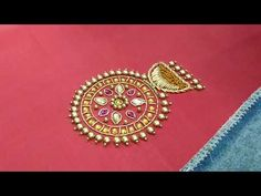 this is an earring design using embroidery on a designer blouse. Hand Embroidery Videos, Embroidery Works, Simple Embroidery, Zardosi Embroidery, Embroidery Motifs, Beaded Embroidery, Traditional Blouse Designs, Fancy Blouse Designs, Peacock Embroidery Designs