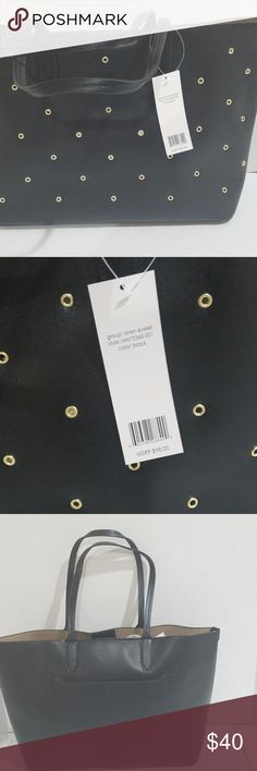 Mondani Loren Eyelet Tote Women bag dual handles, grommet details 16in W X 11in H magnetic disc disclosure one interior pocket, one back pocket non leather Mondani Bags Totes