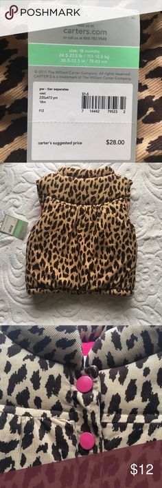 Carter's Carter's Baby short sleeve animal print coat, new with tag. Size 12-18 months. Carter's Jackets & Coats Vests