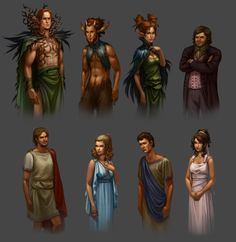 This is an interpretation of the characters. Here we can see the Athenian garments of the lovers, and the clothes made of vines, feathers, and leaves adorned by the fairies. Puck is visualized as a faun, since he is a mythical being not identical to the fairies. I find it interesting that Bottom is depicted with English clothing. It shows a mix of cultures, just as there are fairies in the play, but none in Greek mythology. -Elizabeth Murry by DawnElaineDarkwood.deviantart.com on @deviantART