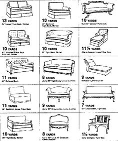 Great site with step by step upholstery directions and helpful charts like this. Little Green Notebook: Upholstery Charts