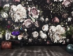 "Ellie Cashman Design Dark Floral II Black Saturated XL Wallpaper. Large scale dark floral wallpaper. Large flowers are 94 cm (39"") in diameter."
