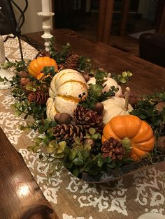 Fall Center Piece - Harvest Wooden Bowl