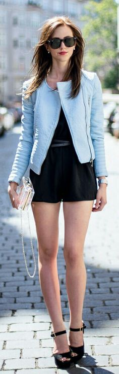 Baby Blue / Fashion by Vogue Haus - shorts with planform sandals