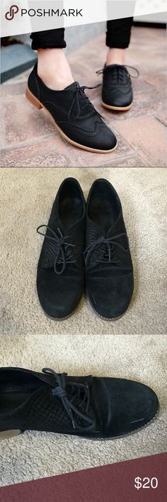 ALDO Black Suede Women's Brogue Loafers Used loafers from ALDO. Very comfortable. Size 8 but I think they may be better for a 7.5/8. They were slightly tight for me. Aldo Shoes Flats & Loafers