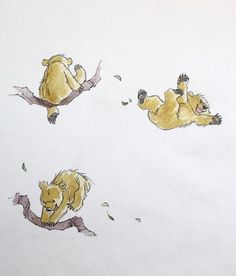 Children's Book Illustration 'Little Bear bounced higher and higher' From 'Sleep Tight, Little Bear' published by Walker Books Ltd in 2005 by Barbara Firth