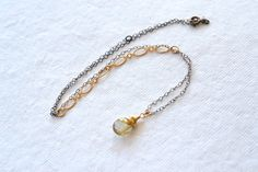 Gold Rutilated Quartz Mixed Metal Necklace by DriftByAllie on Etsy, $45.00