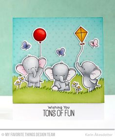 Adorable Elephants, Tiny Stars Background, Adorable Elephants Die-namics, Grassy Hills Die-namics - Karin Åkesdotter   #mftstamps