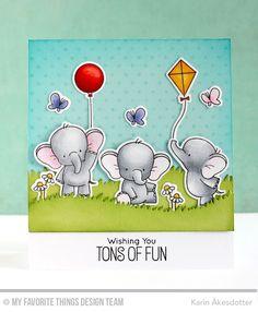 Adorable Elephants, Tiny Stars Background, Adorable Elephants Die-namics, Grassy Hills Die-namics - Karin Åkesdotter #mftstamps