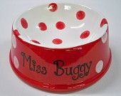 Pair of Large Polka Dot Custom Pet Dishes - Hand painted
